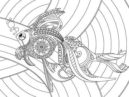 gold fish: Gold fish coloring book vector illustration. Anti-stress coloring for adult.  Black and white lines. Lace pattern