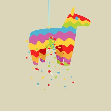pinata: Cartoon colorful pinata horse toy vector illustration