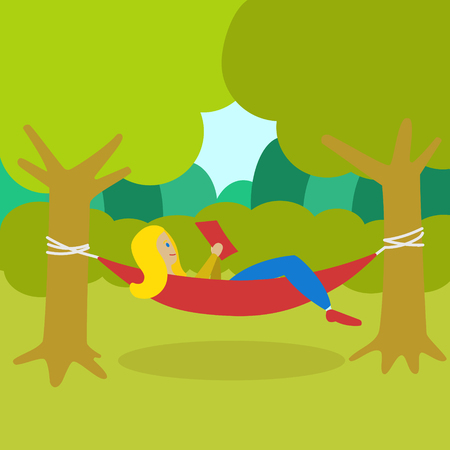gree: Girl resting in a hammock and reading a book. Cartoon colorful vector illustration