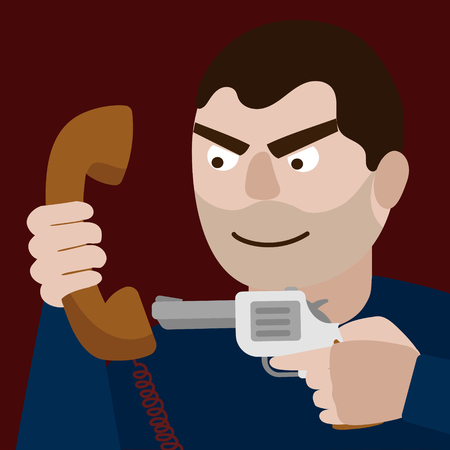 threatened: Man aim gun to phone handset. Funny cartoon colorful vector illustration