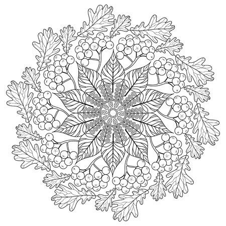 Mandala coloring book. Black and white lace pattern vector illustration Ilustração