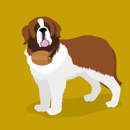 swiss alps: Rescue dog with a keg on his neck. Saint Bernard dog. Cartoon colorful vector illustration Illustration