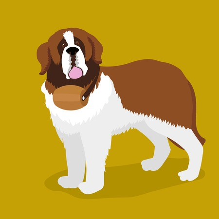 Rescue dog with a keg on his neck. Saint Bernard dog. Cartoon colorful vector illustration Illustration