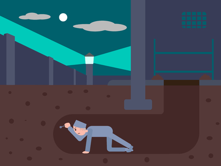 Prisoner escapes from prison through a tunnel. Cartoon colorful vector illustration