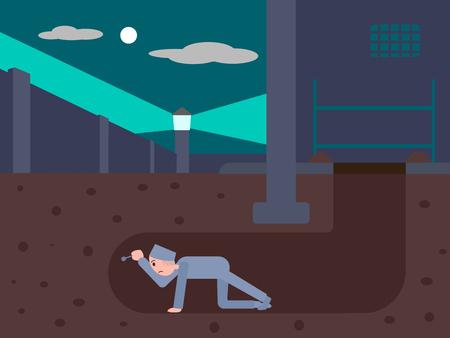 Preso se escapa de la cárcel a través de un túnel. Ilustración de dibujos animados de vectores de colores