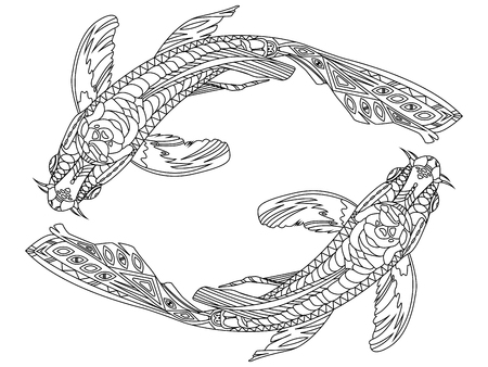 Koi carp fish coloring book for adults vector illustration. Black and white lines. Lace pattern