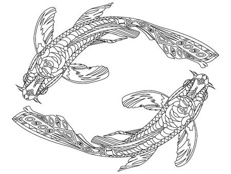 Koi libro para colorear peces carpa para la ilustración vectorial adultos. líneas blancas y negras. modelo del cordón
