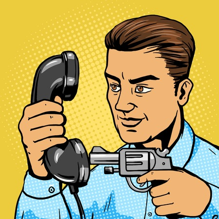 Man aim gun to phone handset pop art vector illustration. Human character illustration. Comic book style imitation. Vintage retro style. Conceptual illustration Ilustrace