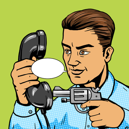 threatened: Man aim gun to phone handset pop art vector illustration. Human character illustration. Comic book style imitation. Vintage retro style. Conceptual illustration Illustration