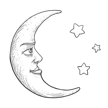 monochromic: Moon with face engraving vector illustration. Scratch board style imitation. Hand drawn image. Illustration