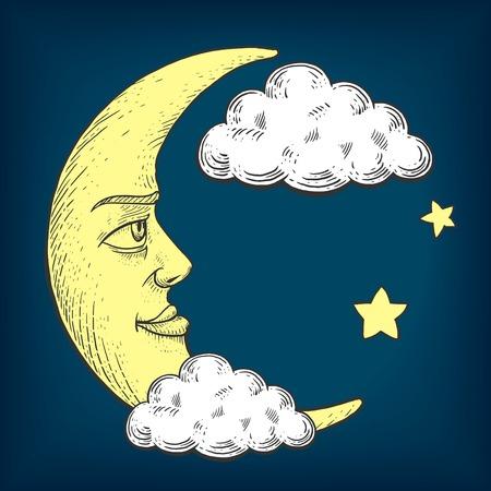 Lune avec le visage dans les nuages ??gravure colorée illustration vectorielle. Scratch style de bord imitation. Image tirée par la main.