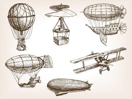 ilustración del vector del estilo del bosquejo de transporte aviones de época. Grabado antiguo de imitación. El transporte aéreo mano dibujada imitación boceto
