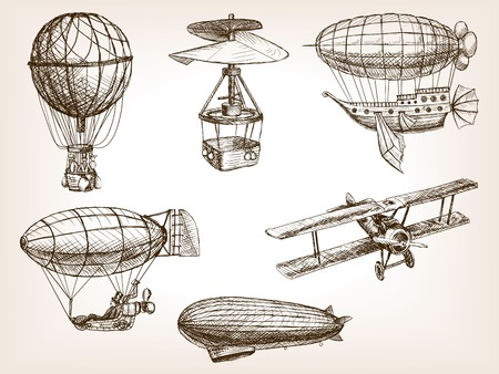 scratchboard: Vintage aircrafts transport sketch style vector illustration. Old engraving imitation. Air transport hand drawn sketch imitation