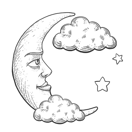 monochromic: Moon with face in clouds engraving vector illustration. Scratch board style imitation. Hand drawn image.