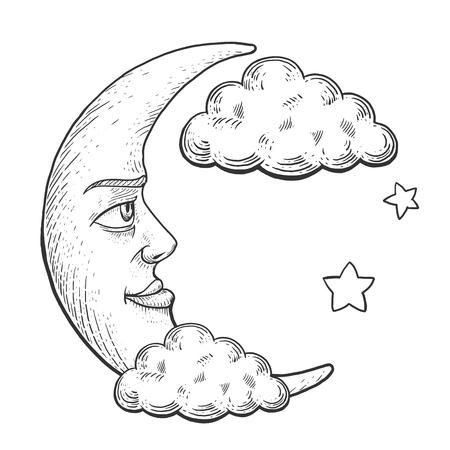 雲のベクトル図を彫刻の顔と月します。スクラッチ ボード スタイルの模倣。手描きイメージ。