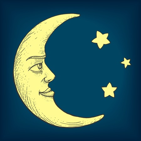 monochromic: Moon with face engraving colorful vector illustration. Scratch board style imitation. Hand drawn image.