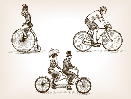 Vintage bicycle transport sketch style vector illustration. Transport set. Old engraving imitation. 矢量图像