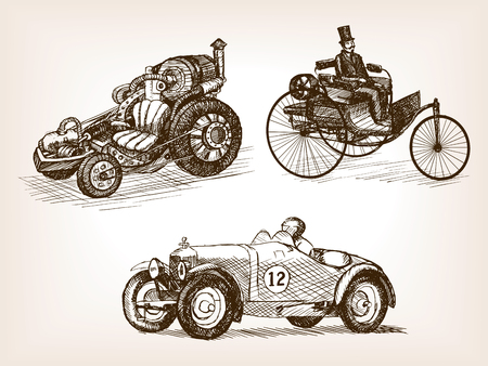 scratchboard: Vintage retro cars set sketch style vector illustration. Transport set. Old engraving imitation.