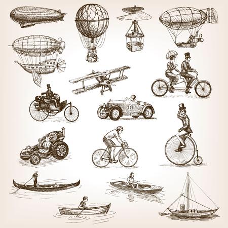 Vintage transport set sketch style vector illustration. Air water transport. Vintage vehicles. Old engraving imitation.