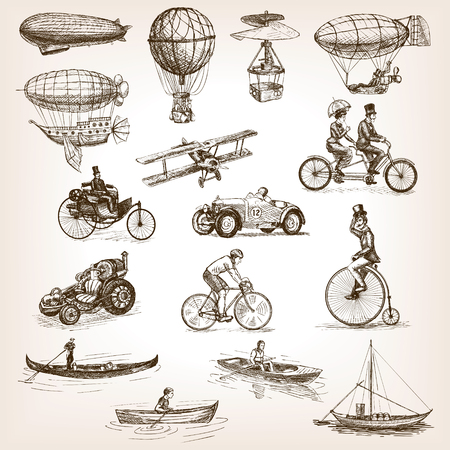 scratchboard: Vintage transport set sketch style vector illustration. Air water transport. Vintage vehicles. Old engraving imitation.