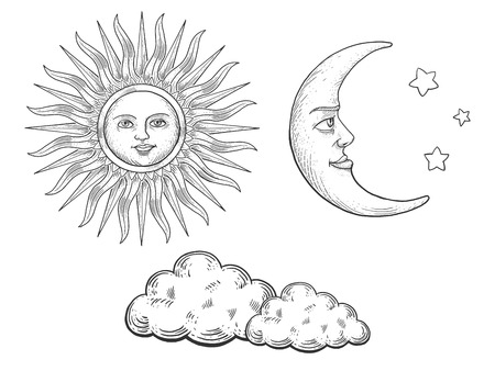 Sun and moon with face and clouds engraving vector illustration. Scratch board style imitation. Hand drawn image.