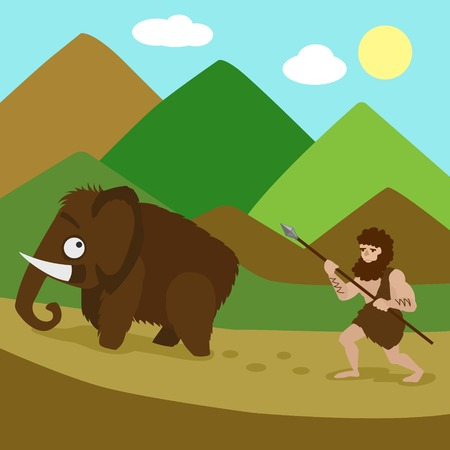 Primeval man hunted mammoths. Colorful hand drawn cartoon vector illustration
