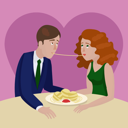 couple date: Couple in love eating spaghetti on a date. Cartoon colorful hand drawn vector illustration