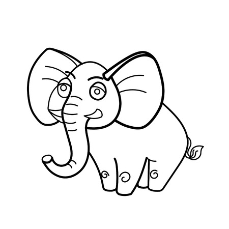 Coloring Book Elephant African Animal Cartoon Educational Vector Illustration