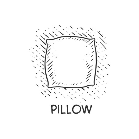 monochromic: Pillow engraving vector illustration. Cushion drawing. Scratch board style imitation. Hand drawn image. Illustration
