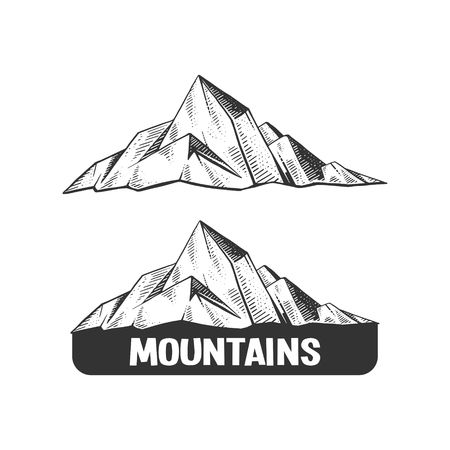 scratch board: Mountains engraving vector illustration. Rock drawing design element. Scratch board style imitation. Hand drawn image. Illustration