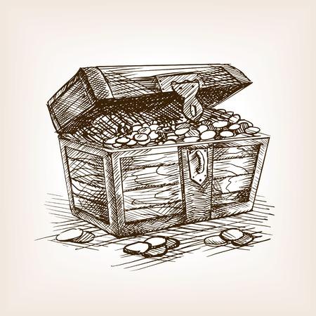 보물 상자 스케치 스타일 벡터 일러스트 레이 션. 오래 된 손으로 그려진 조각 모방.