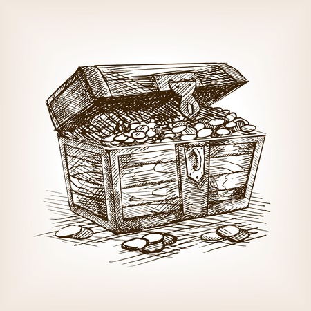 Treasure chest sketch style vector illustration. Old hand drawn engraving imitation.