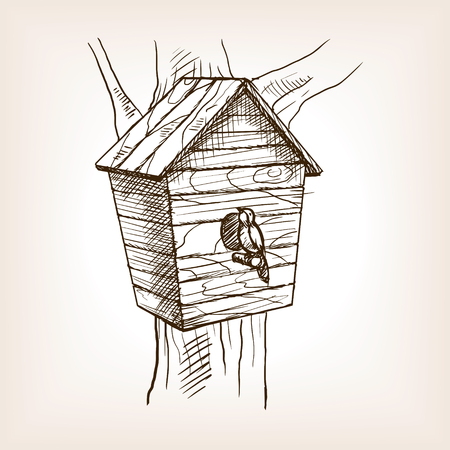 nesting box: Nesting box sketch style vector illustration. Old hand drawn engraving imitation.