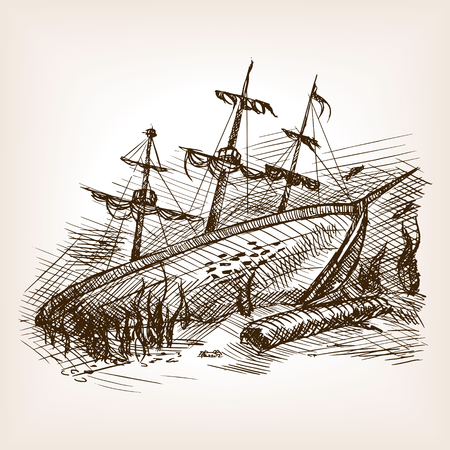 wrecked: Wrecked ancient sailing ship sketch style vector illustration. Old hand drawn engraving imitation.
