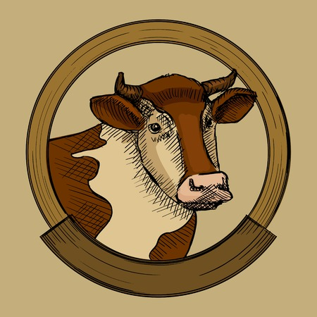 Label for cow meat. Hand drawn sketch style vector illustration Иллюстрация