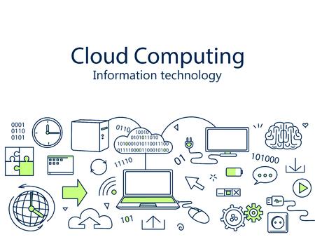 technology banner: Cloud computing banner vector illustration. Information technology. Icons line art set Illustration