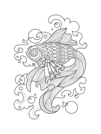 gold fish: Gold fish coloring book for adults vector illustration. Anti-stress coloring for adult. Tattoo stencil. Illustration