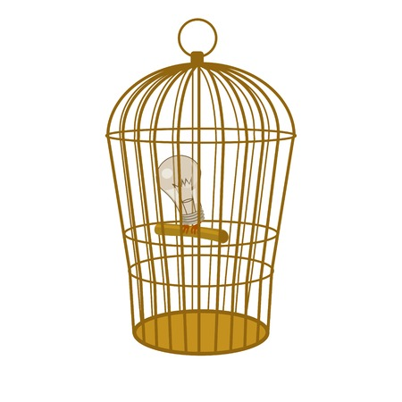 locked up in a cage: Idea lamp in cage. Conceptual hand drawn image. Cartoon colorful vector illustration Illustration