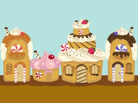 homes: Homes of cakes district. Colorful hand drawn cartoon vector illustration