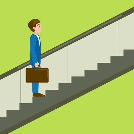 moving up: Business man on escalator moves upwards. Moving up the career ladder. Business metaphor. Cartoon colorful hand drawn vector illustration