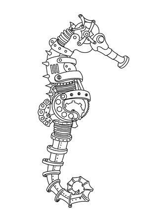 caballo de mar: caballito de mar estilo steampunk. animales mecánica. Libro de colorante para la ilustración del vector adulto. Vectores