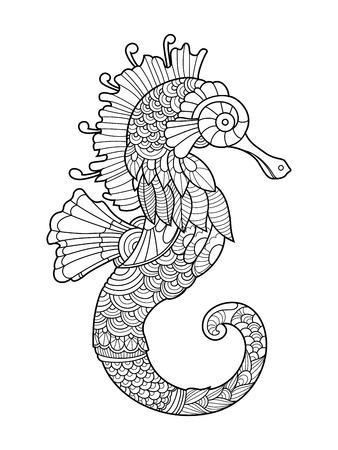 Zeepaardje kleurboek voor volwassenen vector illustratie. Anti-stress-kleuring voor volwassen. Tattoo stencil. Zwart en witte lijnen. kantpatroon