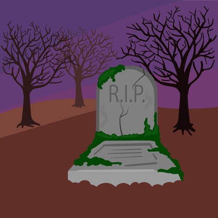 nightmarish: Grave in the cemetery. Dark night. Colorful hand drawn cartoon vector illustration Illustration
