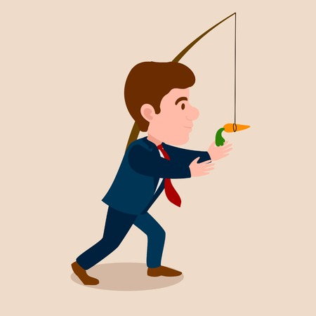 Man chasing a carrot cartoon. Work for consumption metaphor. Colorful hand drawn vector illustration Illustration
