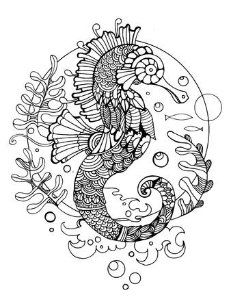 Zeepaardje kleurboek voor volwassenen vector illustratie. Anti-stress-kleuring voor volwassen. Tattoo stencil. Zwart en witte lijnen. kantpatroon Vector Illustratie