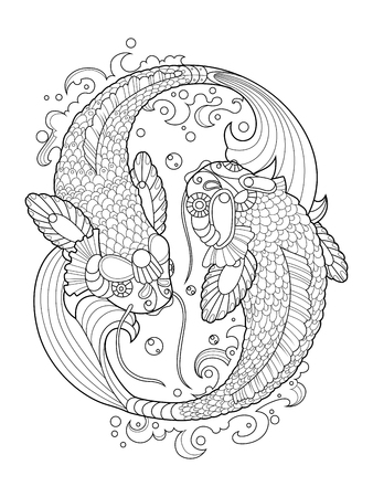 koi carp: Koi carp fish coloring book for adults vector illustration. Anti-stress coloring for adult. Tattoo stencil.  Black and white lines. Lace pattern