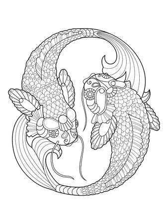 Koi-Karpfen Fisch Malbuch Für Erwachsene Vektor-Illustration. Anti ...