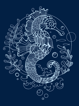horse fish: Sea horse coloring book for adults vector illustration. Anti-stress coloring for adult. Tattoo stencil. Zentangle style. Black and white lines. Lace pattern Illustration