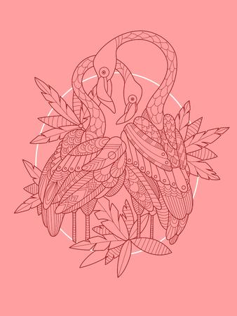 flamenco ave: Flamingo bird tattoo design vector illustration. Tattoo stencil.  Black and white lines. Lace pattern