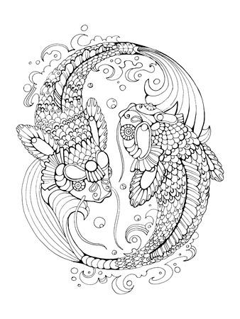 Zentangle Stilisiert Hand Gezeichneten Koi Fisch. Japanische ...